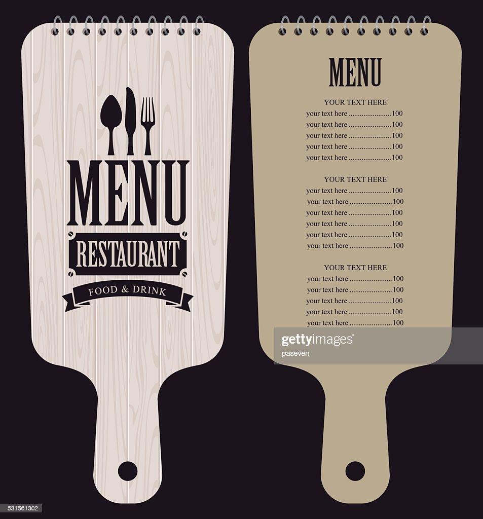menu in wooden cutting board