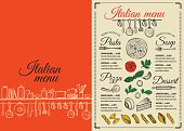 Menu italian restaurant, food template placemat.
