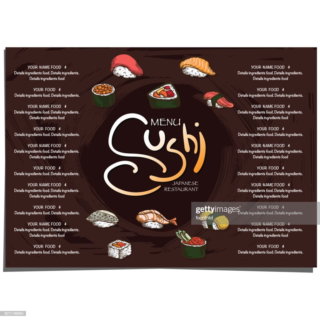Menu Japanese Food Sushi Restaurant Template Design Hand Drawing Graphic High Res Vector Graphic Getty Images