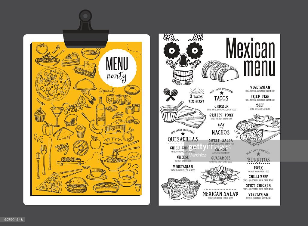 Menu mexican restaurant, template placemat.
