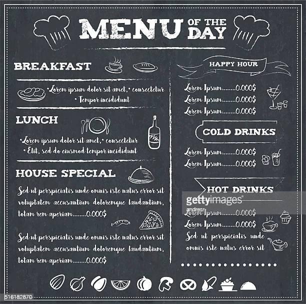 illustrations, cliparts, dessins animés et icônes de menu du jour - menu