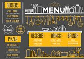 Menu restaurant, food template placemat.