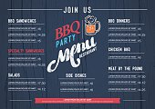 BBQ  menu restaurant template and wood texture background..