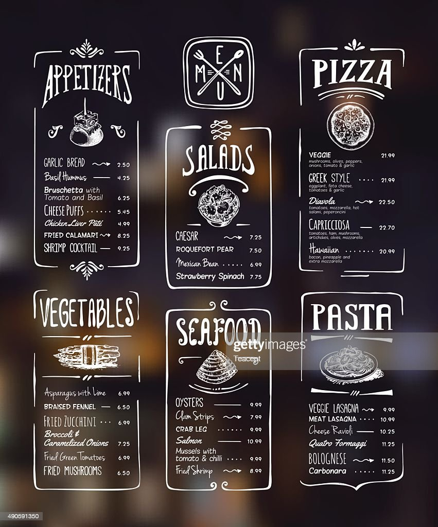 Menu template. White drawing on dark background