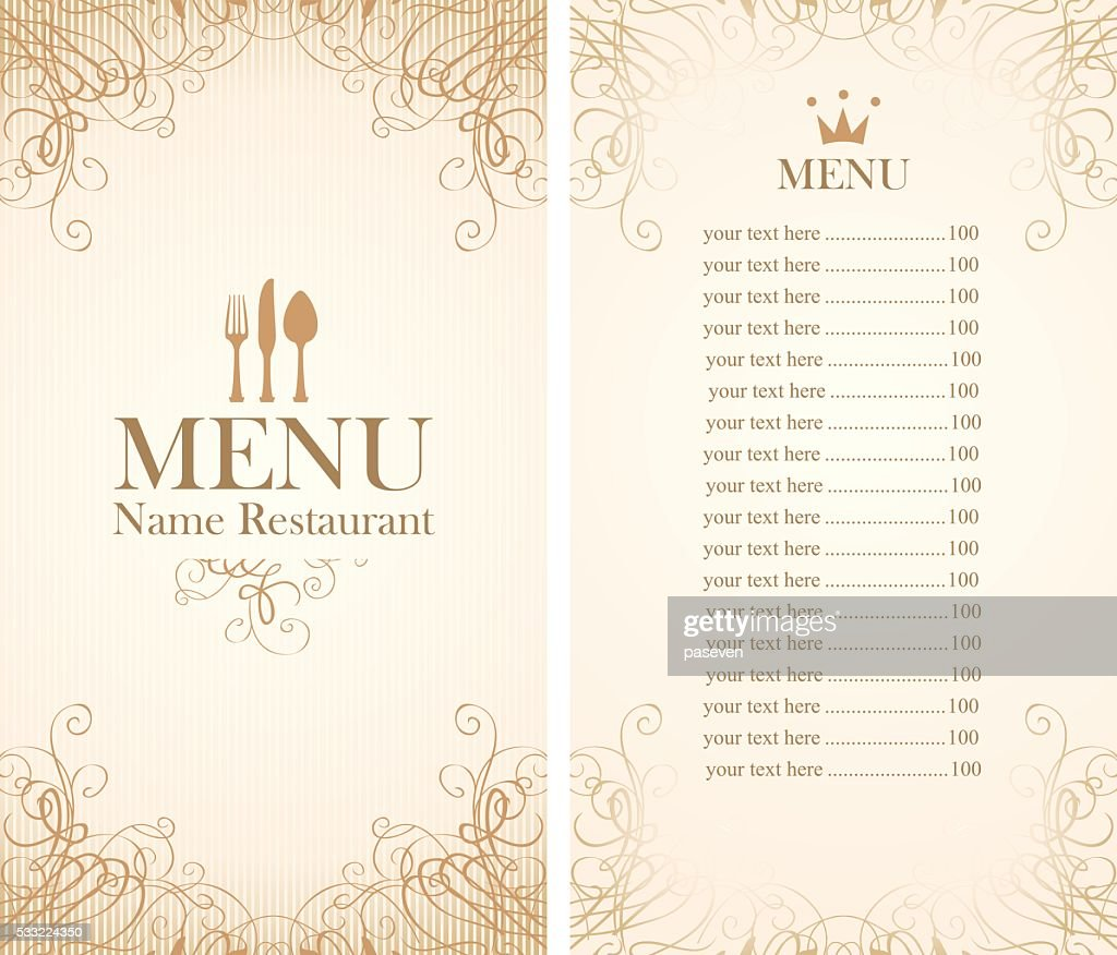 menu with cutlery
