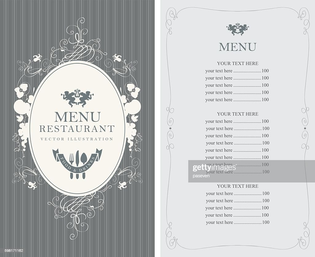 menu with floral ornaments in style baroque