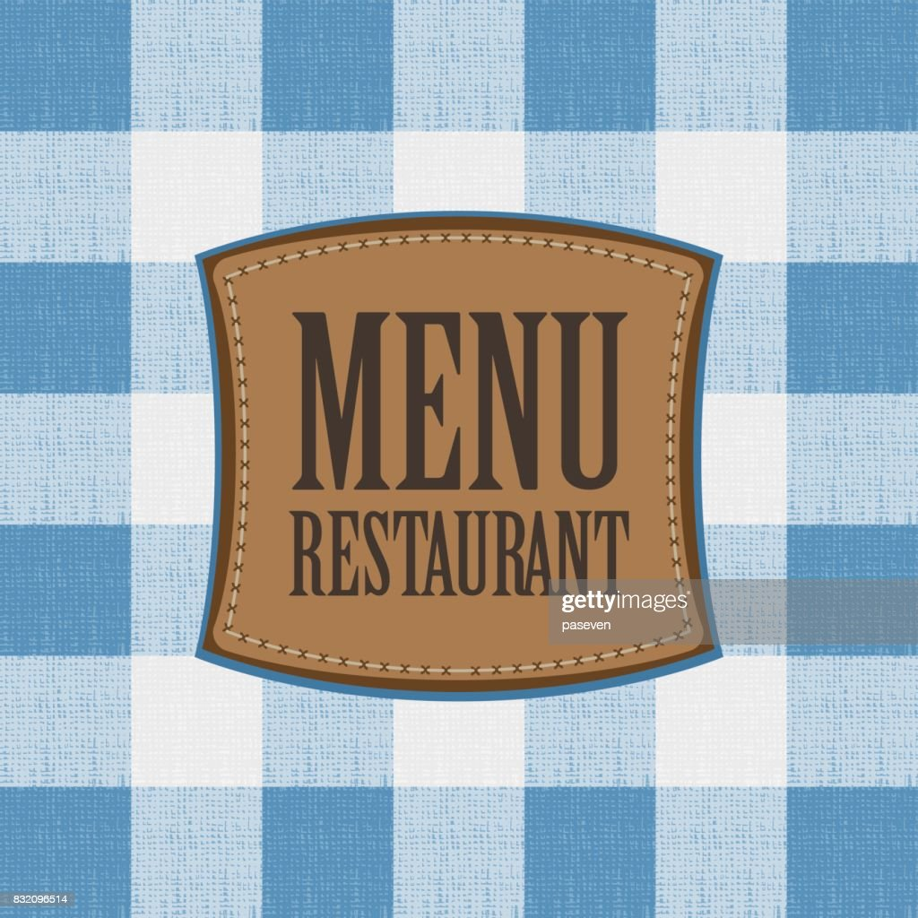 menu with leather patch on the tablecloth