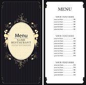 menu with price list