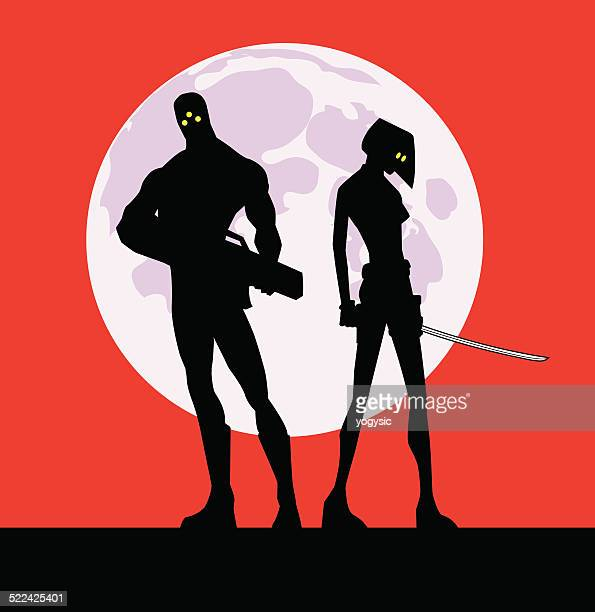 Mercenary Couple Silhouette in Red Background