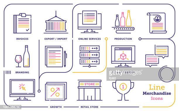 ilustraciones, imágenes clip art, dibujos animados e iconos de stock de conjunto de iconos de la línea de mercancías - línea de producción