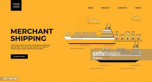 商船バナーデザイン - 荷積み場点のイラスト素材/クリップアート素材/マンガ素材/アイコン素材