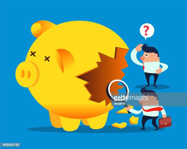 merchants found that the piggy bank was damaged - weakness stock illustrations