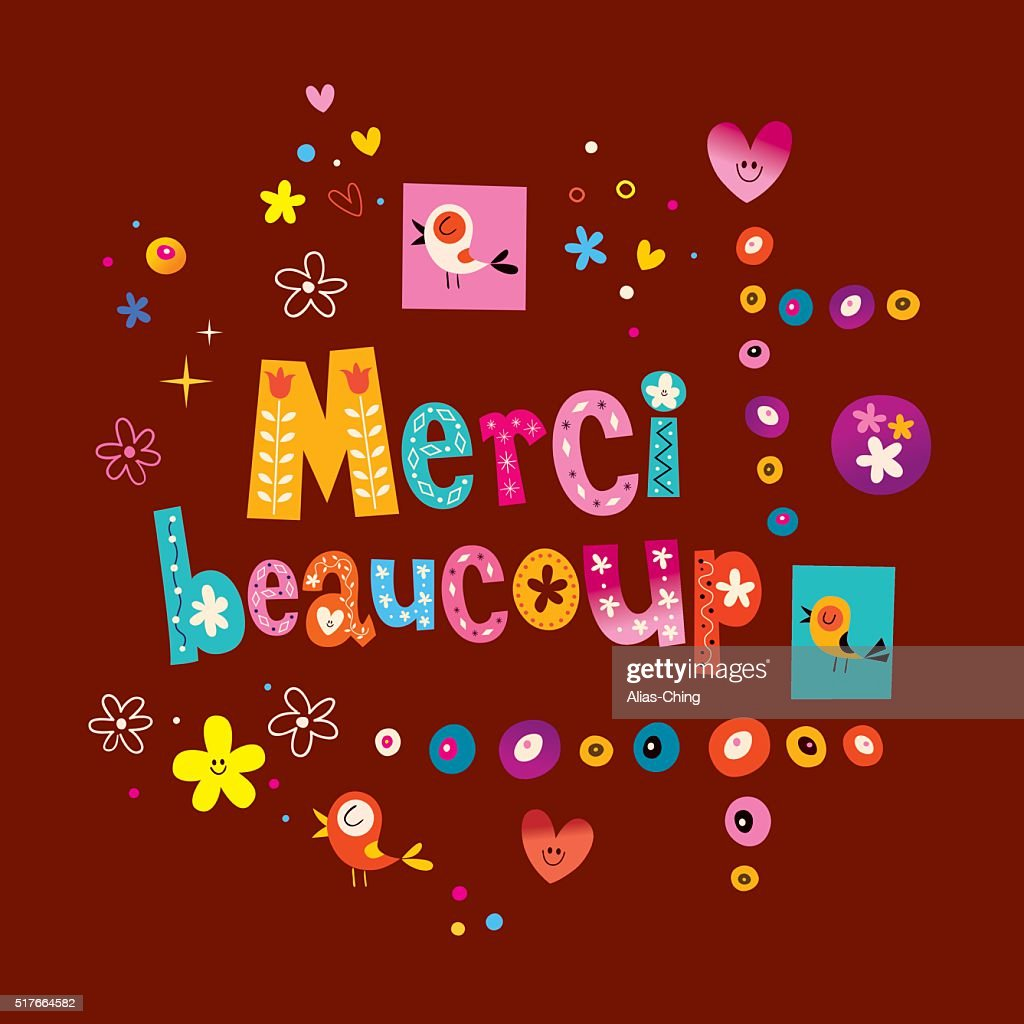 Merci Beaucoup Thank You Very Much In French Greeting Card Vector
