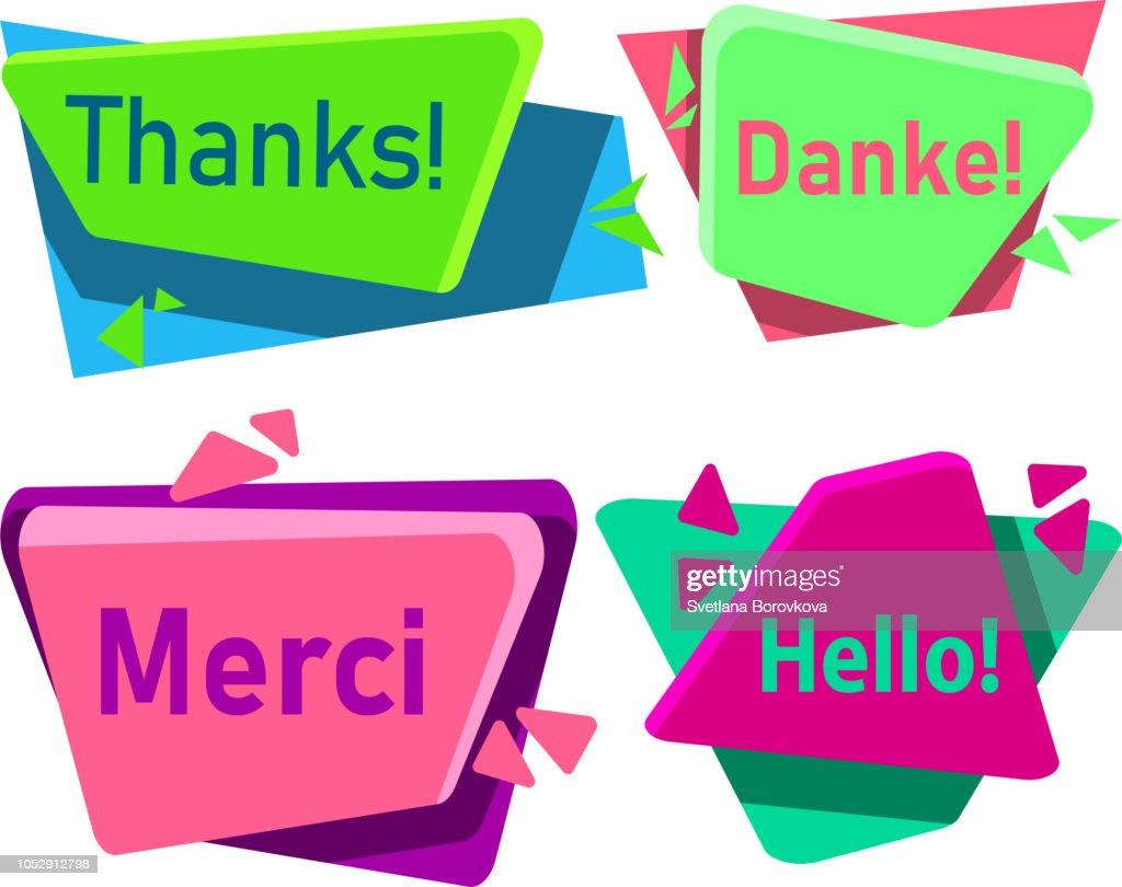Merci, danke, thanks and hello signs isolated on white.