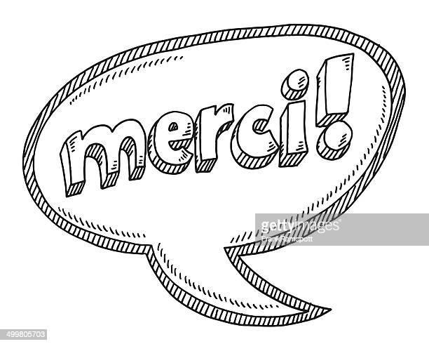 ilustraciones, imágenes clip art, dibujos animados e iconos de stock de merci.  ilustración de burbujas de discurso de texto - cultura francesa
