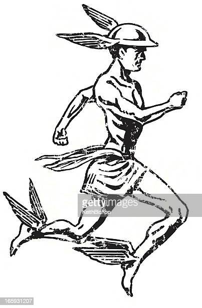 mercury - roman god, hermes - roman goddess stock illustrations, clip art, cartoons, & icons