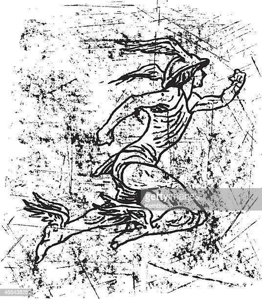 mercury - roman god, hermes - ancient olympia greece stock illustrations, clip art, cartoons, & icons