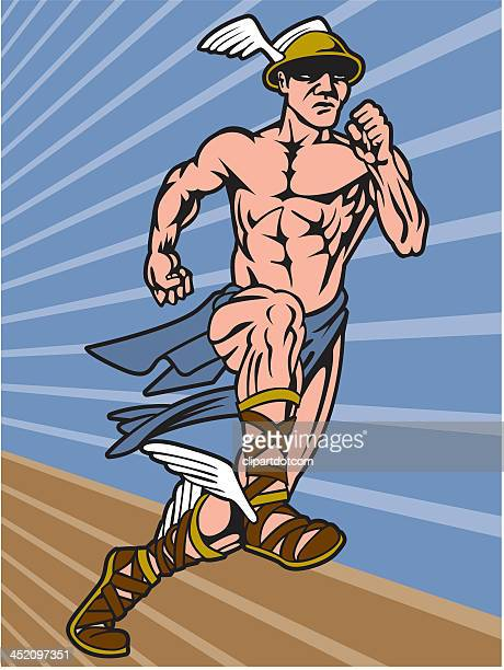 mercury running - roman god stock illustrations