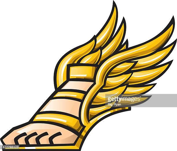 mercury winged shoe - roman god stock illustrations