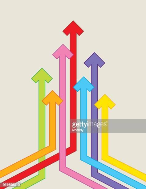 merge arrows development - traffic arrow sign stock illustrations