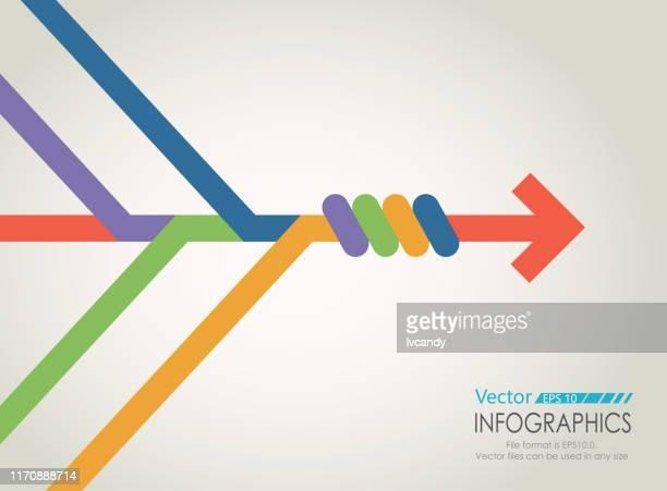 ilustraciones, imágenes clip art, dibujos animados e iconos de stock de gráfico de combinar flechas - unión
