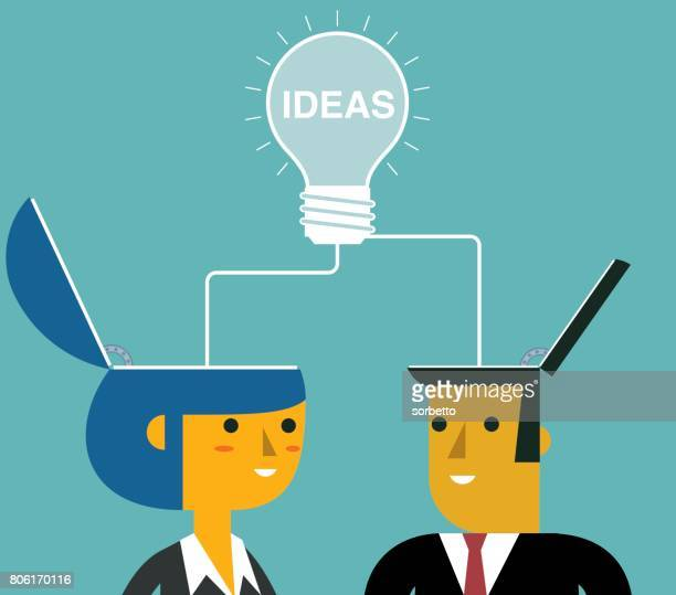 Merge ideas to success - businessman and businesswoman