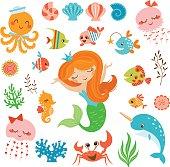 Mermaid and sea friends