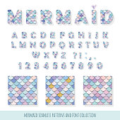 Mermaid font and seamless patterns set. For birthday cards, posters. Vector