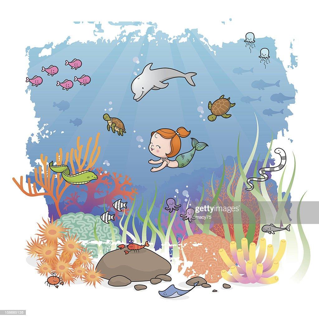 Mermaid girl and friends