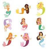 Mermaid nixie character vector illustration