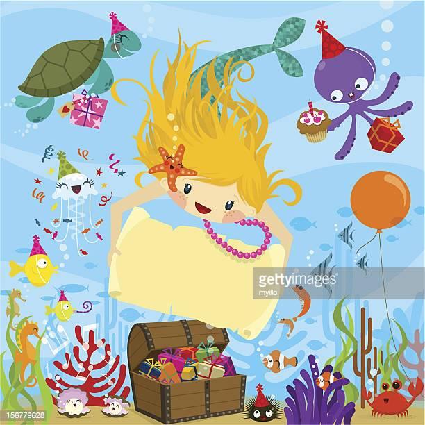 Mermaid party. Happy birthday.Invitation vector illustration