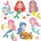 Mermaid Princess Vector Set