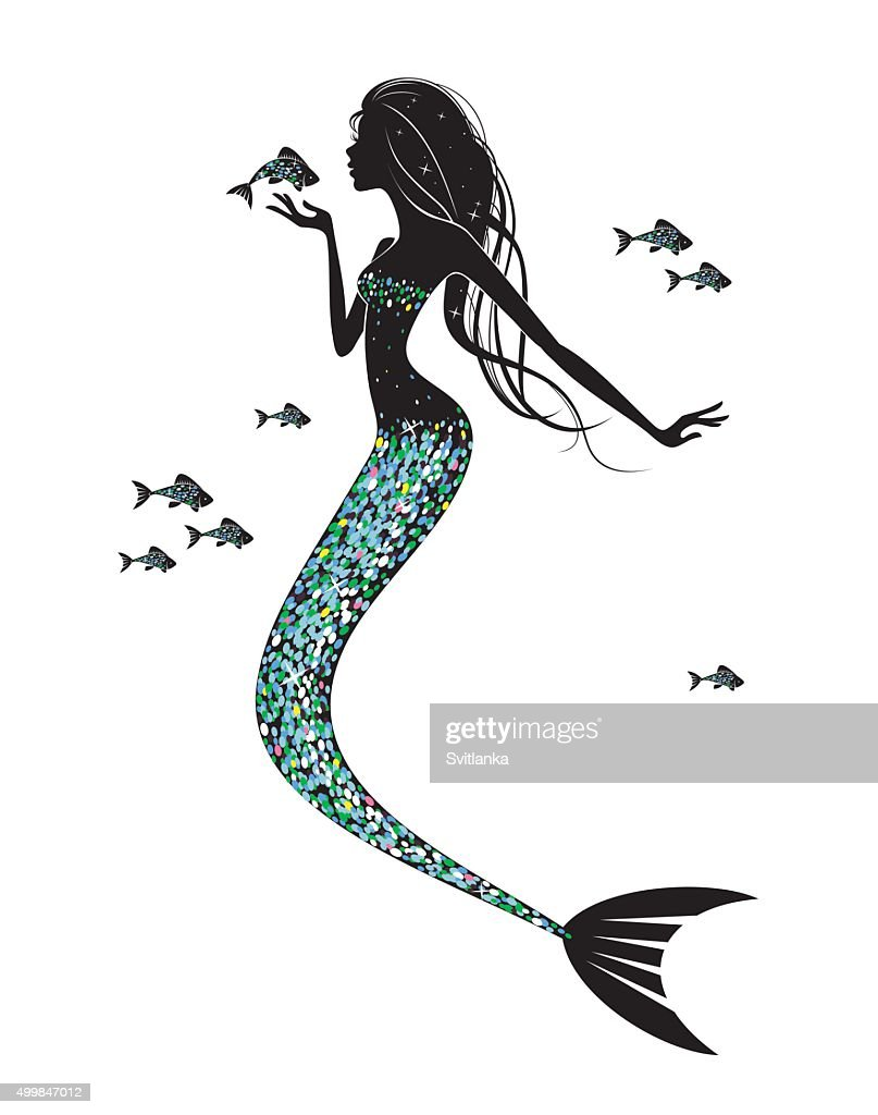 Mermaid  silhouette  with  a fish