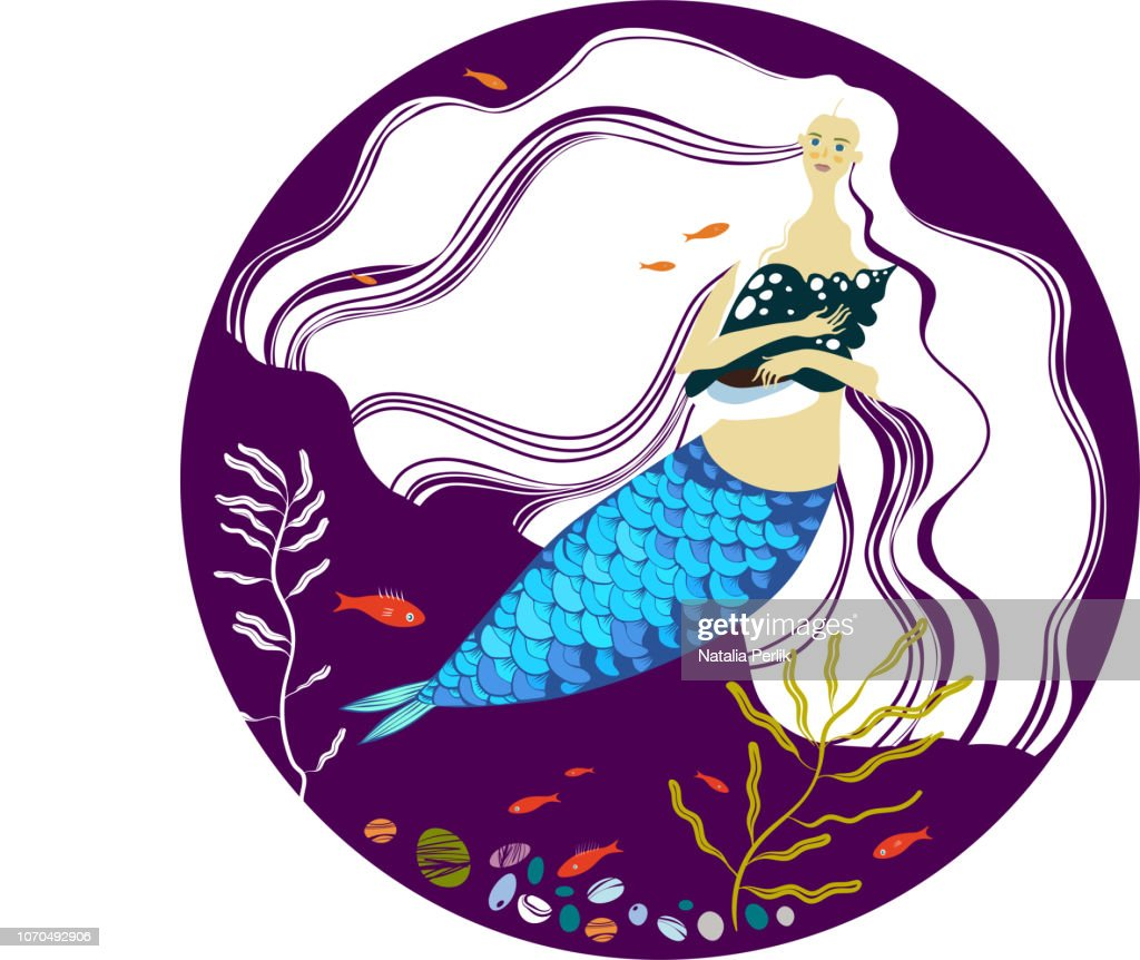 mermaid under water with long white hair