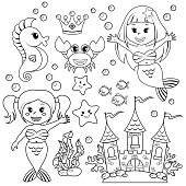 Mermaid, underwater castle and sea animals. Fish, starfish, seahorse, crab, crovn. Black and white vector illustration for coloring book