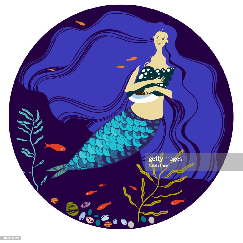 mermaid with long blue hair
