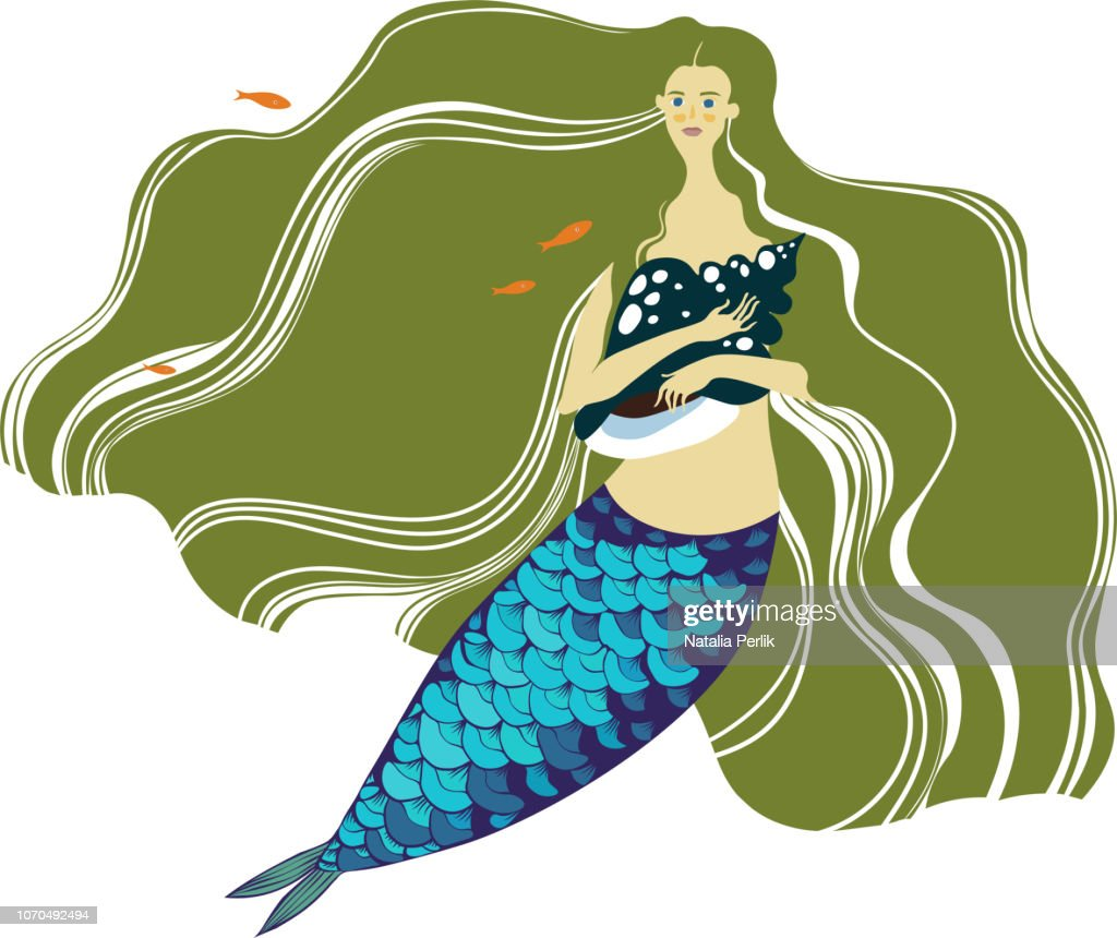 mermaid with long green hair
