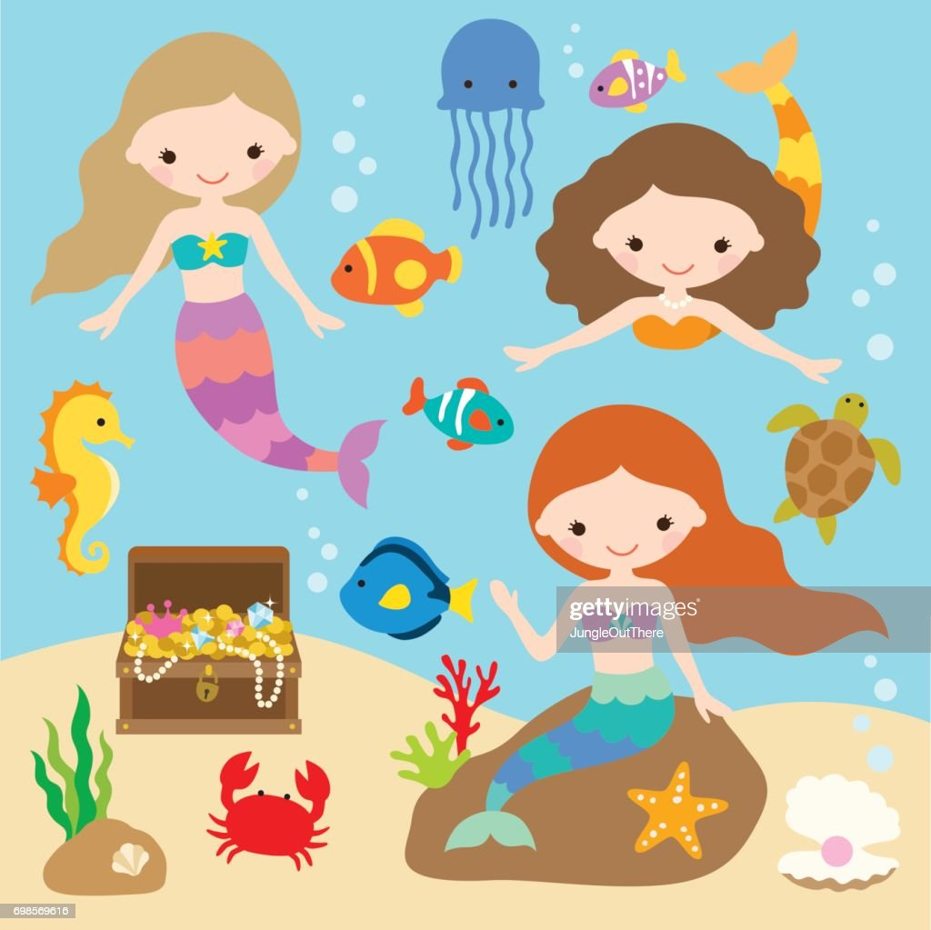 Mermaids Under the Sea with Fishes, Jellyfish, Seahorse, Crab, Starfish, Treasure Chest.