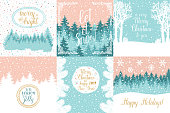 Merry and Bright Christmas, Happy Holidays, Happy New Year greeting cards set. Vector winter holidays backgrounds with hand lettering calligraphic, christmas tree branches, snowflakes, falling snow.