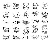 Merry and Bright Christmas, Happy Holidays, Happy New Year labels, emblems, symbol, text, greeting cards set. Vector winter holidays backgrounds with hand lettering calligraphy