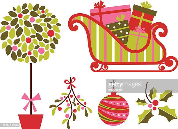 merry and bright - mistletoe stock illustrations