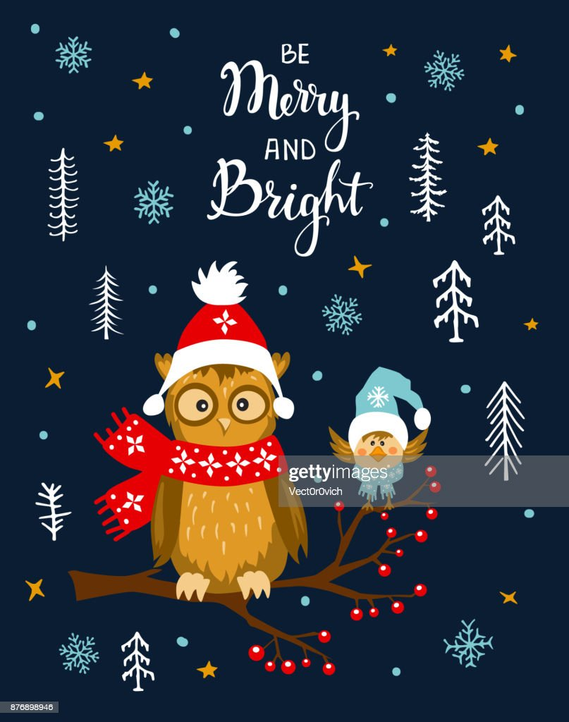 Merry And Bright Winter Xmas Christmas Happy New Year Greeting Card