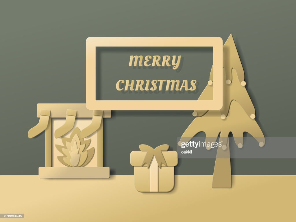 merry and christmas happy new year background with gold gift christmas tree fireplace