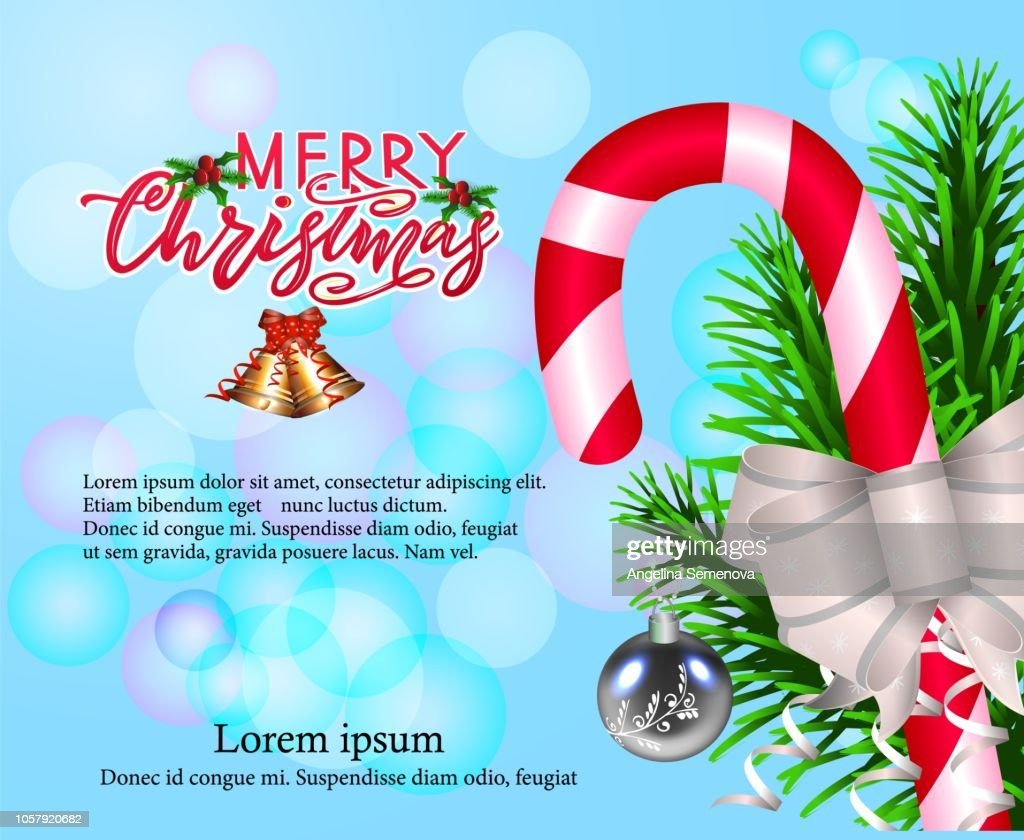 Merry Chirstmas, composition with modern calligraphy lettering on blue background with bokeh. Vector Illustration