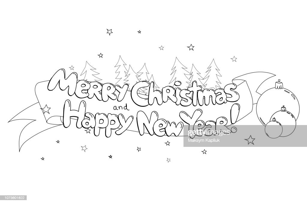Merry Christma and Happy New Year. Hand drawned vector  line art