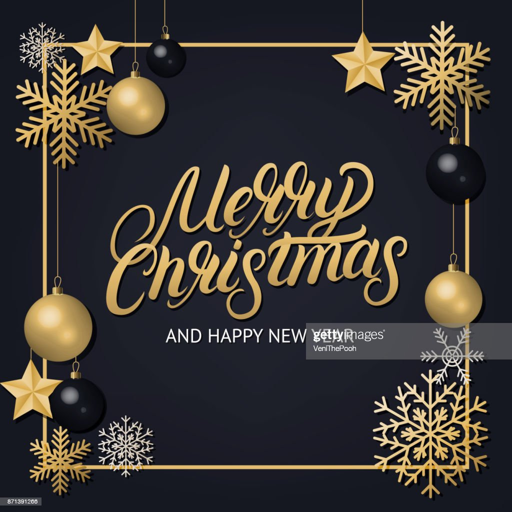 Merry Christmas 2018 hand written lettering with golden decoration ornament.