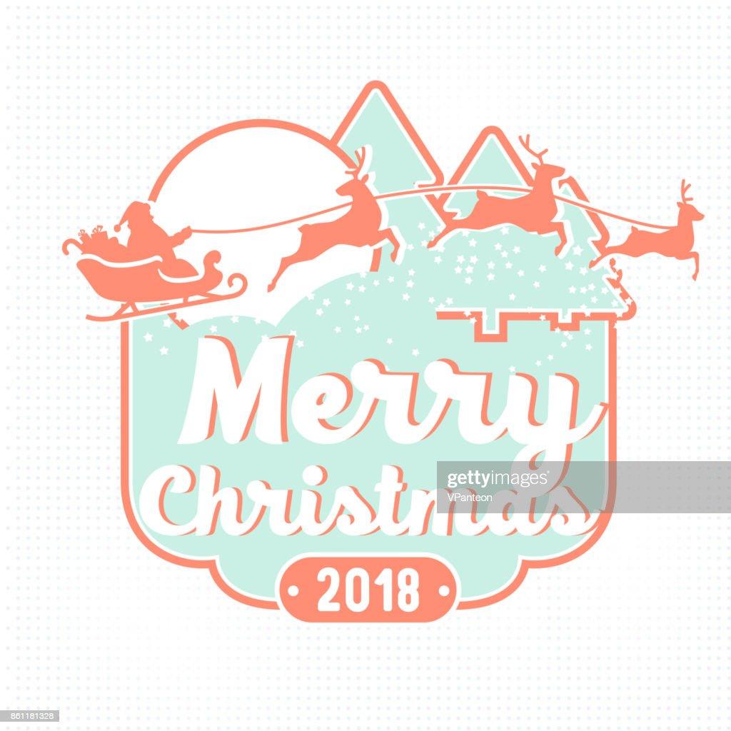 Frohe Weihnachten 2018 Urlaub Tag Mit Weihnachtsmann Schlitten Und