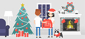 Merry christmas. A couple of young characters celebrating the Xmas. Decorated guest room with a fireplace. Pets. Cozy interior. Flat editable vector illustration, clip art