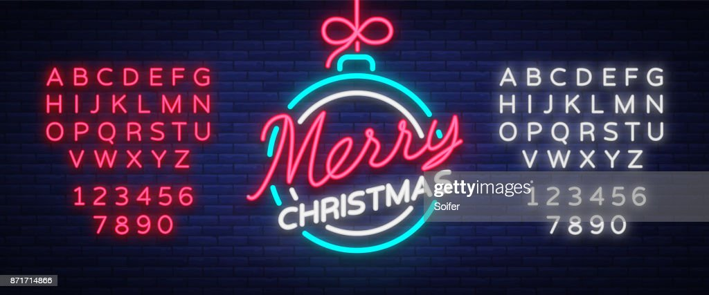 Merry christmas and a happy new year. Greeting card or invitation pattern in neon style. Neon luminous signboard, bright luminous banner. Vector vintage illustration. Editing text neon sign