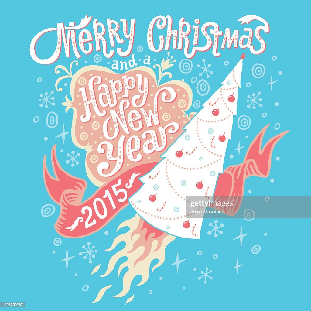 Merry Christmas And Happy New Year 2015 Greeting Card Vector Art